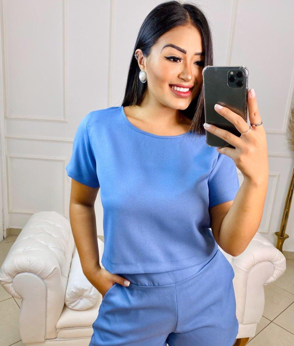 Conjunto curto Vanusa – Blusa e shorts Azul Claro – 210510
