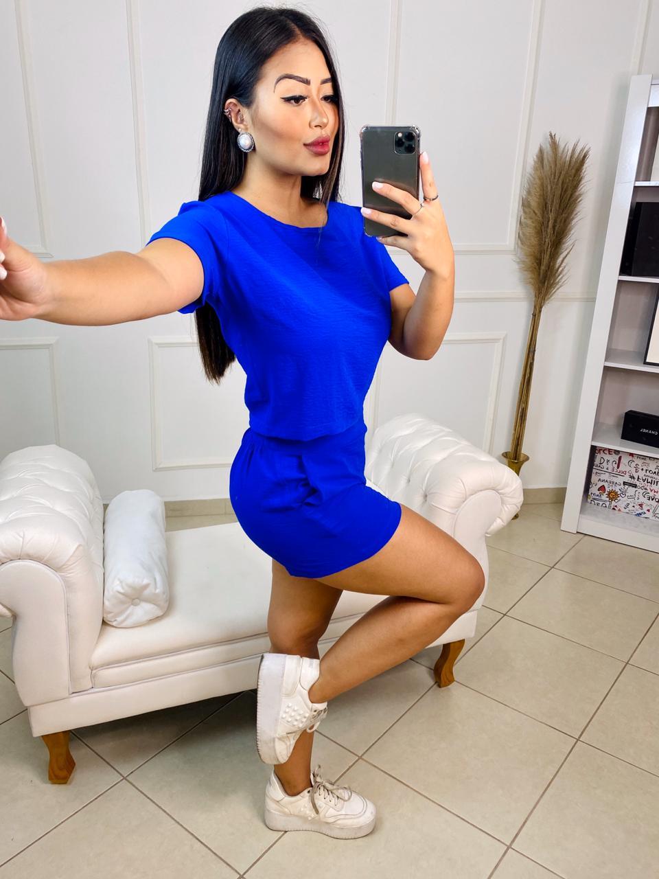 Conjunto curto Vanusa – Blusa e shorts Azul Royal – 210510